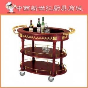 椭圆酒车(铜木) 古典欧式铜木结构酒水车